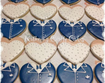 Bride/Groom decorated sugar cookies