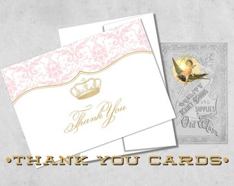 Princess Thank You Cards in Pink and Gold - Custom Royal Princess Folding Thank You Notes - 4Bar Cards with Envelopes - White or Cream