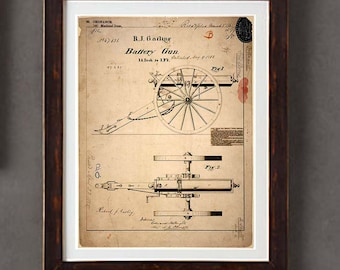 "Poster Art Print: -  ""Vintage Gatling Gun Blueprint "" - 8 x 10 poster print, Historical Weapons, Military guns, Civil War Gun"