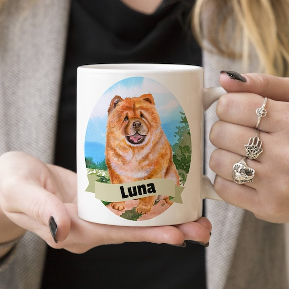 Chow Chow Custom Dog Mug - Get your dogs name on a mug - Dog Breed Mug - Great gift for dog owner - Chow Chow mug