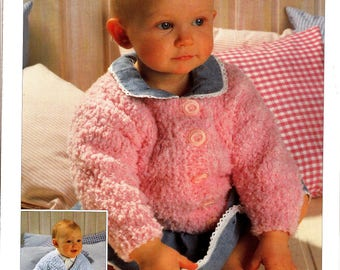 "3929 Sirdar Knitting Pattern Snowflake Chunky 2 Baby Child Cardigans 18""-28"" 46-71cm"