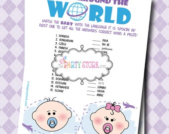 Digital INSTANT DOWNLOAD Baby Shower Games: Printable Baby Around the World with Languages Game, Fun and Unique, DIY