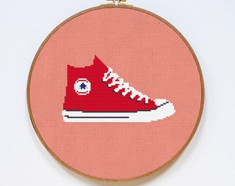Converse Red Cross Stitch Pattern, All Stars Shoes Cute Cross Stitch Chart, PDF Format, Instant Download