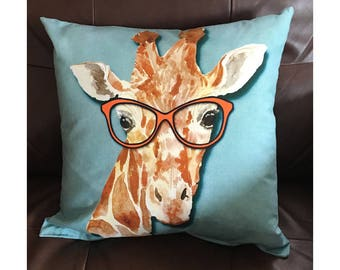 Giraffe Wearing Glasses Throw Pillow in Turquoise