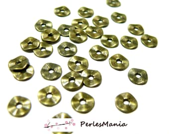 50 small hammered flat spacer P101871 7mm Bronze beads