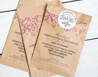 Confetti Program Bag - Kraft Paper - Personalized Alternative Wedding Program - No Fuss Program Option - Confetti Toss - 20 Bags per pack