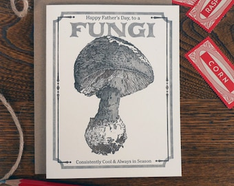 letterpress happy father's day to a fungi card vintage mushroom seed packet consistenly cool always in season