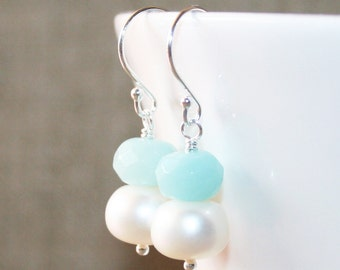 White Pearl and Aqua Amazonite Dangle Earrings, Sterling Silver, Genuine Freshwater Pearl, Faceted Amazonite, Christmas Gift