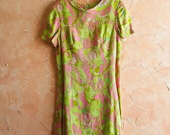 Goergia Polluck Dress Vintage Mad Men Era 60's Midi Dress Rockabilly Lime Green Pink Paisley Retro Body Con Zip Up Scoop Neck Betty Draper
