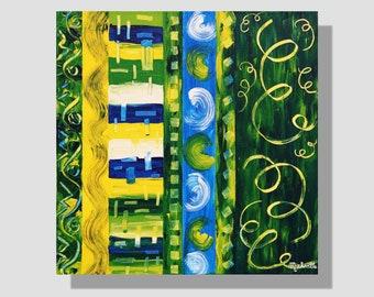 """Peinture abstraite contemporaine à l'acrylique sur toile. """"Rubans"""", tableau décoratif carré graphique, vert, jaune, bleu, blanc. home deco"""