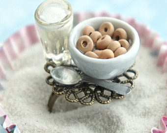 cheerios cereals and milk ring- miniature food jewelry, cereals ring, breakfast ring