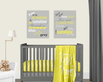 You Are My Sunshine Yellow Grey Canvas Prints Set