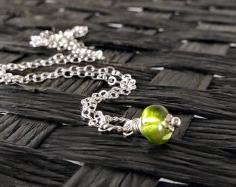 Natural Gemstone Jewelry - Natural Peridot Charm - Genuine Peridot Jewelry - Sterling Silver Charms - Wire Wrapped Jewelry Handmade