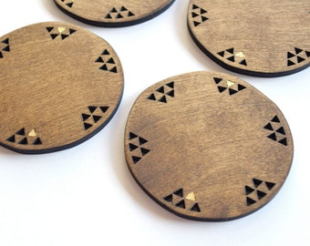 SALE Geometric Wood Coasters Set of 4 Gold Leaf