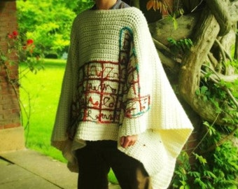 Sale - Super-chunky crochet periodic table poncho