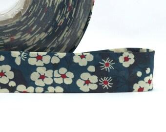 1 metre of cord - Bias Liberty of London Mitsi pattern flowers - bias Replie width 2 cm - teal blue tones