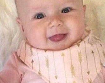Pink Gold Arrows bibdana baby bib