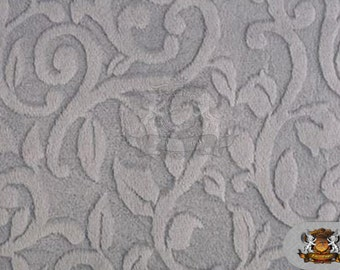 """Minky Cuddle Embossed Vine Fabric 12 Plata/ 58"""" Wide /Sold by the yard"""
