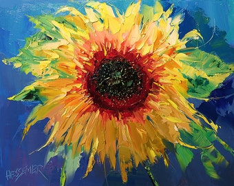 Sunflower for Jessica Giclee Canvas Print   Giclee Print of Palette Knife Oil Painting