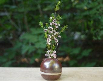Ceramic Bud Vase / Iron Red-Brown & Bare Clay