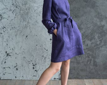 Linen dress, purple dress, dresses, women dress, long sleeves dress, dress with pockets, linen, linen fabric