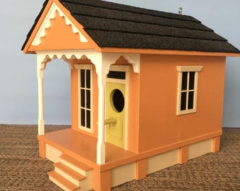 Large Shotgun Birdhouse w/Porch - Dk Peach w/ Lime Green Door