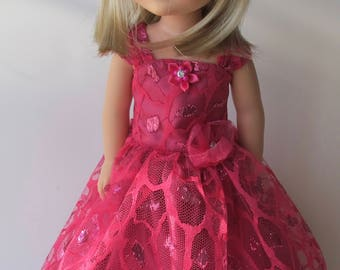 """Hot Pink Lace Gown For 14""""-15"""" Dolls"""