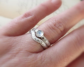 Bridal Set Rainbow Moonstone Cabochon Engagement Ring and Curved Wedding Band Sterling Silver