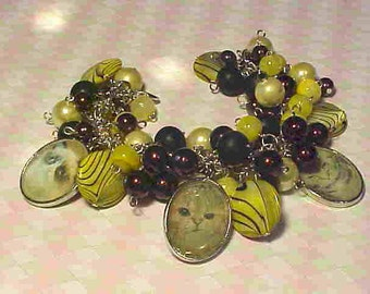 BEADED CHARM Bracelet-''CATS with Attitude''-One  crabby cat-as seen on ''American Idol'' Glass Beads, Photo Charms, Altered Art, Ooak