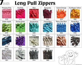 7 Inch 4.5 Ykk Purse Zippers with a Long Handbag Pulls Mix and Match Your Choice of 25 Zippers