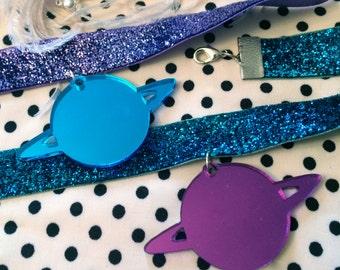 Planet Glitter Choker Necklace in Purple or Blue, Laser Cut Acrylic, Plastic Jewelry