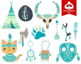 Cat Indian or Native American Version One Digital Clipart for Personal and Commercial Use