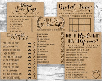 Bridal Shower Games Package . Bundle 5 Games . Printable Instant Download Games . Rustic, Kraft, Funny, Fun, Country Bridal Shower Games.