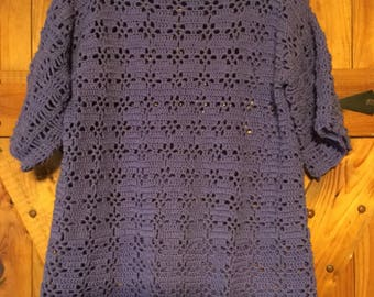 Womens Pullover Crocheted Lace Sweater