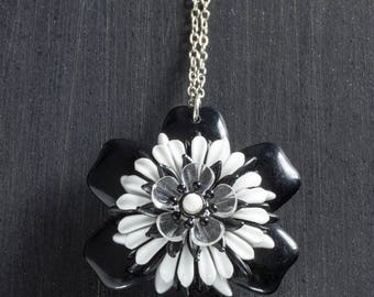 """Black and White Vintage Passionflower Bloom Necklace with Stacked Plastic Retro Hippie Flowers on 18"""" Sterling Silver Chain Jewelry Floral"""