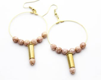 Blush & Gold Hoop Bullet Earrings
