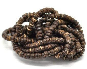 Perles de bois de coco naturel 5mm - 1 corde de 40cm
