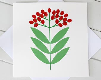 Simple Scandi Christmas Berries Xmas Blank Card
