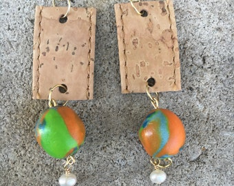 Cork rectangle earrings