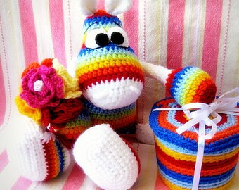 Amigurumi Pattern - Rainbow Hippo  With a Sneakers  Crochet Toy by Liliksha Toys