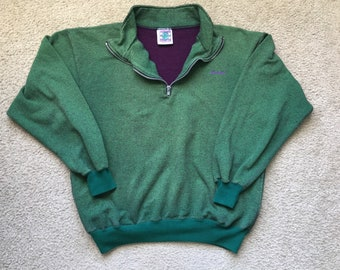 Men's Vintage 90s Duofold Green 1/2 Zip Sweater Jacket Size Large