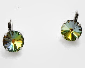 Glowing Swarovski crystal 14mm Sahara rivoli earrings antique silver plated,gleaming special effect fancy stone colour