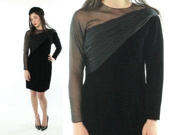 80s Oscar de la Renta Velvet Party Dress LBD Black Long Sleeves Asymmetrical Vintage 1980s Small S Little Black Dress