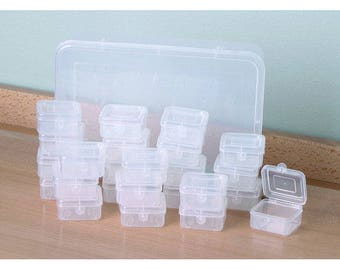 All Brand New Cases Clear Jewelry Square Storing Locking Tops Container Set for beads gems stones buttons containers jewelry cases