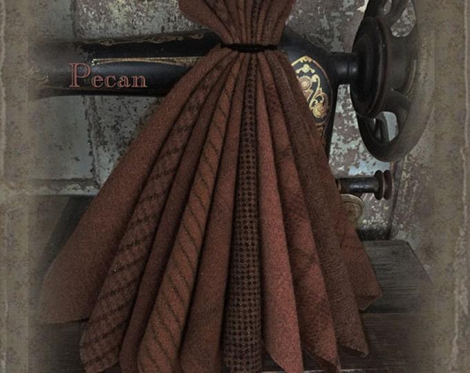 "Wool Bundle: MF Woolens Bundle of 10 pieces - 6 1/2"" x 8"" - Pecan"