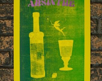 Absinthe Makes the Heart Grow Fonder Letterpressed Print
