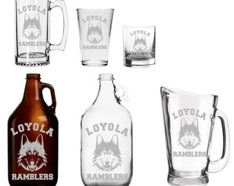 Loyola  - Beer Mug - Pint Glass - Growler - Etched - Sister Jean