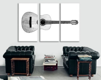 Black and White Acoustic Guitar Full View on 3 CANVAS Split , Decorating Ideas, Wall Decor, Wall Art, Music Decor