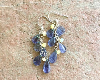 Tanzanite and Opal Earrings Purple Gemstone Earrings Lavender Earrings Opal Earrings Gemstone Jewelry Long Earrings Delicate Earrings Purple