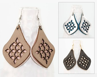 Laser Cut Leather Earrings - Diamond Teardrop Pattern (Choose Your Color Combo / Custom Made Jewelry) Gifts for Her